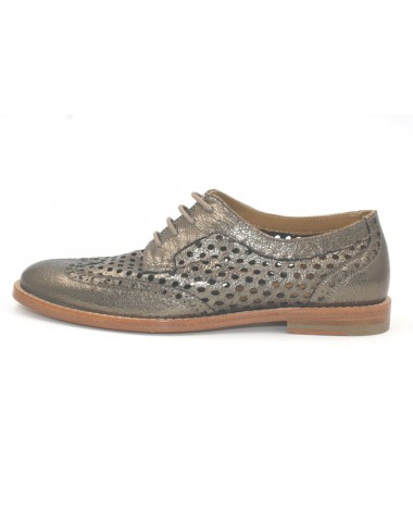 Chaussures derby Anaki modele Margot en cuir perforé bronze
