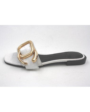 Chaussures mules What For modele Scoot en cuir blanc ivoire