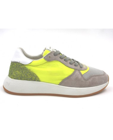 Baskets sneakers Crime London modèle Differ nylon jaune fluo