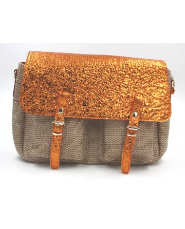 Sac à main Craie modele Mini Math en cuir pailleté orange et toile bronze