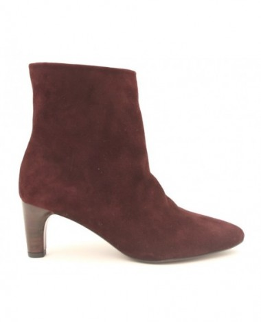 Bottines à talon Avril Gau en cuir velours bordeaux modèle Inès