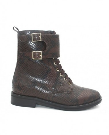 Bottillons Anaki modèle London en cuir python marron