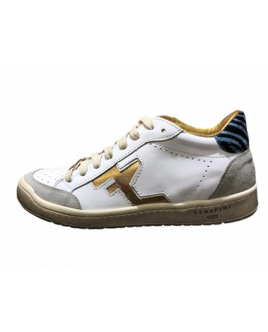 Sneakers Serafini modele Dan Diego low white red cuir blanc