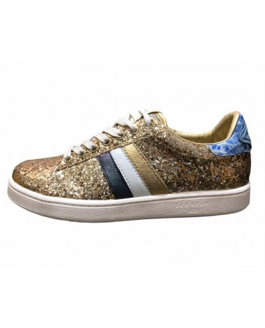 Sneakers Serafini modele Connors gold glitter cuir doré paillettes