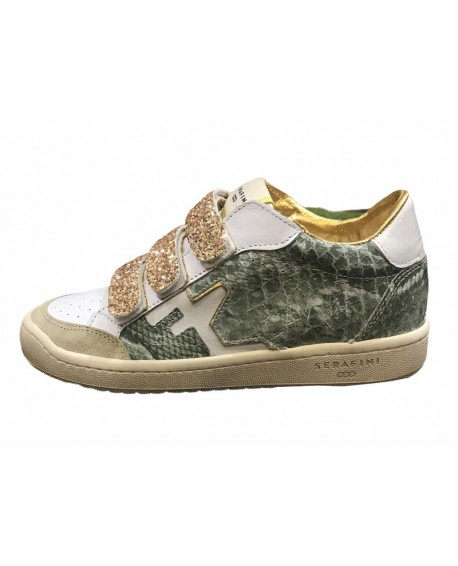 Sneakers à scratch Serafini modele San Diego low military camouflage paillettes