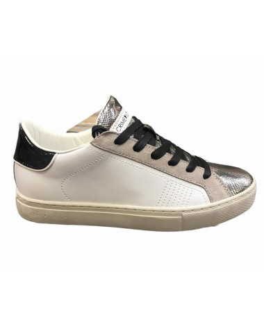 Sneakers Crime London en cuir blanc et metal modele 25503