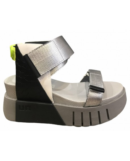 Sandales compensees UNITED NUDE modele delta run silver