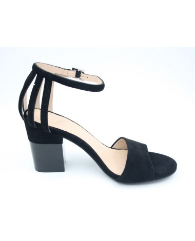Sandales à talon en cuir velours noir marque WHAT FOR modele WF461