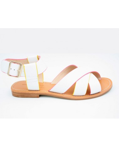 Sandales plates blanches MELLOW YELLOW modele Dallyne