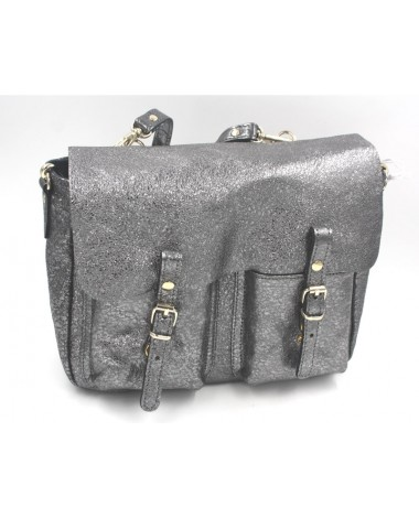 Sac à main cartable Craie modèle Mini Maths steel argent