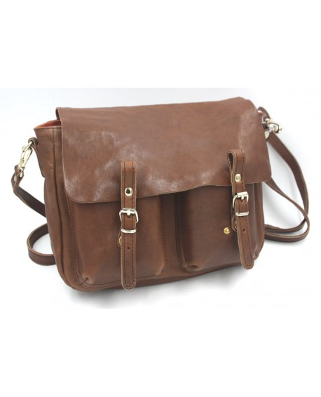 Sac à main cartable Craie modèle Mini Maths cuir washé marron
