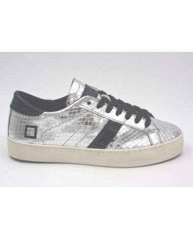 Baskets cuir argent DATE hill low python