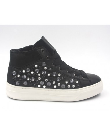 Baskets montantes cuir noir strass CRIME LONDON 25242