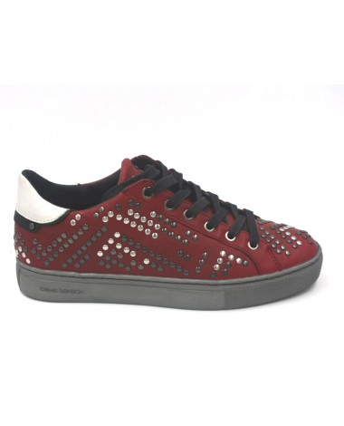Baskets sneakers en cuir rouge clouté CRIME LONDON 25124