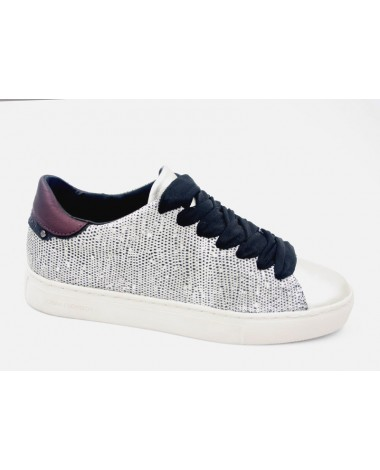 Baskets sneakers en cuir argent CRIME LONDON 25103