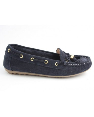 Mocassins marque Filipe Shoes en cuir velours bleu marine