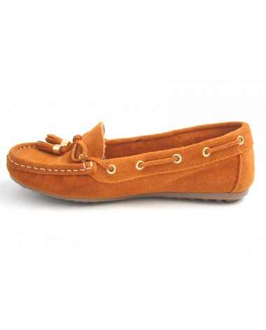 Mocassins marque Filipe Shoes en cuir velours orange
