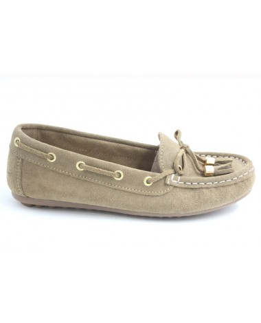 Mocassins marque Filipe Shoes en cuir velours beige
