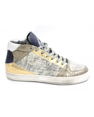 Baskets montantes P448 en cuir irisé Queens Mid Lurex