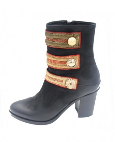 Bottines talon STRATEGIA cuir noir boutons officiers