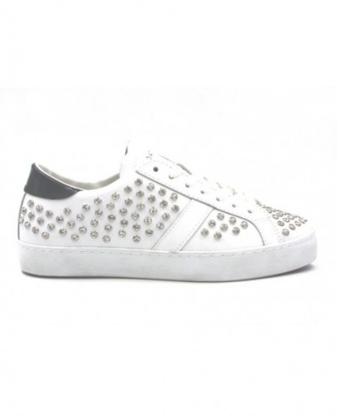 Sneakers marque DATE modèle Hill Low Strass cuir blanc